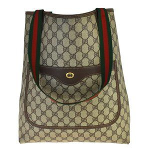 GUCCI Pattern Shelly Tote Shoulder Bag PVC Leather